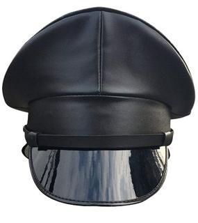 Custom Black PU Leather Performance Officer Military Peak Cap