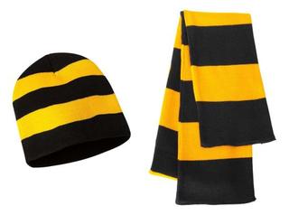 Wholesale Custom 100% Acrylic Winter Football Fan Rugby Scarf&Beanie Sets